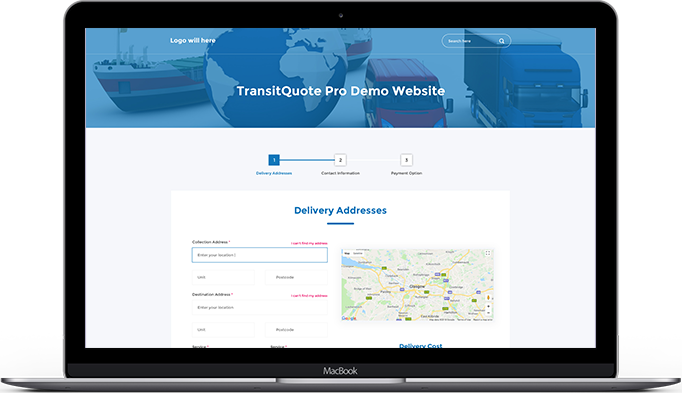 Online quote and booking system for couriers, freight or delivery companies.
